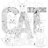 Кот слова для красить Объекты zentangle вектора декоративные Стоковое фото RF
