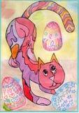 Кот с пасхальными яйцами Стоковая Фотография