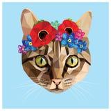 Кот с флористической кроной Стоковые Изображения RF