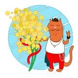 Кот с цветками иллюстрация штока
