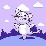 Кот танцев на лужайке иллюстрация штока