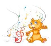 Кот танцев с музыкальными символами Стоковое Изображение