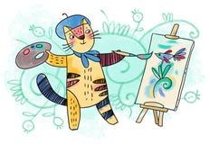 Кот - творческий художник Стоковое Изображение RF