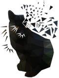 Кот треугольника черный серьезный с глазами Брайна Стоковые Фото