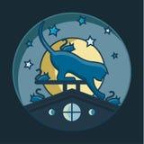 Кот улавливает мышей на крыше, иллюстрации, звероловство ночи Стоковое Изображение
