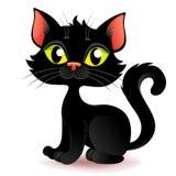 Кот хеллоуина милого шаржа черный Стоковая Фотография RF