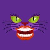 Кот Чешира животное от Алисы в стране чудес обширная усмешка иллюстрация штока