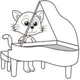 Кот шаржа играя рояль иллюстрация вектора