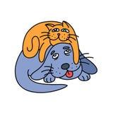 Кот шаржа кладя на собаку также вектор иллюстрации притяжки corel Стоковые Фото
