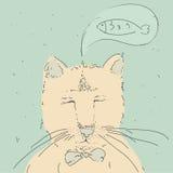 Кот шаржа милый думает о рыбах Стоковые Фото