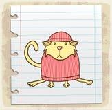 Кот шаржа на бумажном примечании, иллюстрации вектора Стоковые Фото