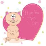 Кот шаржа счастливый с сердцем Поздравительная открытка и надпись - я тебя люблю Стоковые Фото