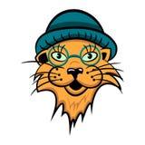 Кот шаржа с стеклами также вектор иллюстрации притяжки corel стоковое изображение