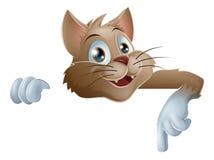Кот шаржа указывая вниз Стоковое Изображение RF