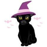 Кот шляпы ведьмы хеллоуина черный иллюстрация штока