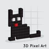 Кот. 3D пиксел ART Вектор Стоковые Фото