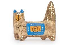 Кот figurine глины Стоковое Изображение