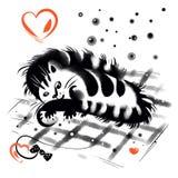Кот Tabby лежа на checkered половике Стоковые Изображения RF