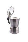 Кофеварка гейзера изолированная на белой предпосылке Стоковые Фото
