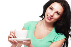 Кофейная чашка женщины стоковые изображения rf