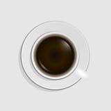 кофейная чашка изолированная над белизной взгляда сверху Стоковая Фотография RF