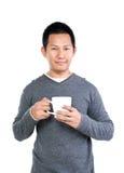 кофейная чашка имея человека Стоковая Фотография RF