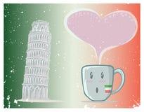 Кофейная чашка и башня Пизы вектор Стоковые Изображения RF