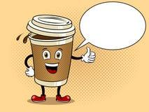 Кофейная чашка и большой палец руки вверх по вектору искусства шипучки Стоковая Фотография