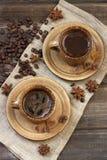 Кофейная чашка и кофейные зерна взгляд сверху Стоковое Фото