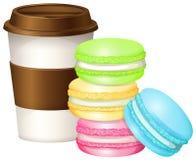 Кофейная чашка и красочное macaron иллюстрация штока