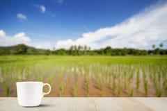 Кофейная чашка на верхней части деревянного стола на запачканной зеленой предпосылке поля риса Стоковое Фото