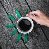 Кофейная чашка на зеленом цвете выходит положение квартиры предпосылки Стоковое фото RF