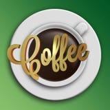 Кофейная чашка с словами иллюстрация штока