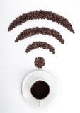 Кофейная чашка с фасолями значка Wi-Fi для кафа Стоковые Изображения RF