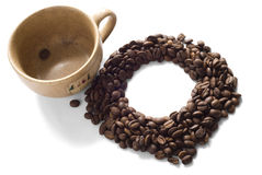 кофейная чашка фасолей коричневая стоковое изображение rf