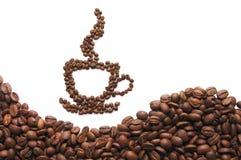 кофейная чашка фасолей предпосылки сделала белизну Стоковые Фото