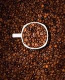 кофейная чашка фасолей вполне установила нержавеющую сталь ложки поддонника Стоковое фото RF