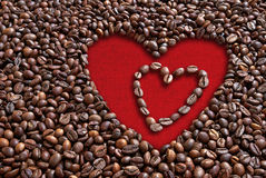 Кофейные зерна валентинки Стоковые Фото
