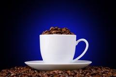 Кофейные зерна в белой чашке на черной предпосылке Стоковое фото RF