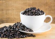 Кофейные зерна в белой чашке стоковые изображения