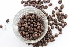 Кофейные зерна в стеклянной чашке на белой предпосылке Стоковые Изображения