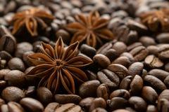 Кофейные зерна и анисовка звезды стоковое изображение rf
