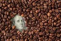 Кофейные зерна и 100 долларовых банкнот Стоковая Фотография
