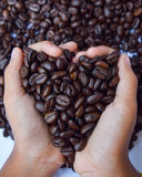 Кофейные зерна и рука Стоковое фото RF