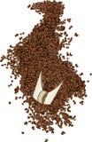 Кофейные зерна на лопаткоулавливателе Стоковое фото RF
