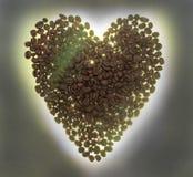 Кофейные зерна на сером цвете - белая предпосылка Конец-вверх Стоковая Фотография