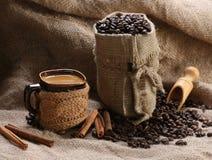 Кофейные зерна циннамона кофейной чашки Стоковое Фото