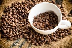 Кофейные зерна Arabica в кофейной чашке с предпосылкой ткани мешка bean coffee roasted стоковые изображения rf