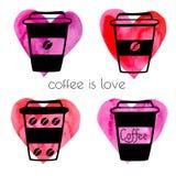 Кофейные чашки вектора с сердцами акварели Иллюстрация штока
