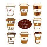 Кофейные чашки взятия отсутствующие Иллюстрация вектора